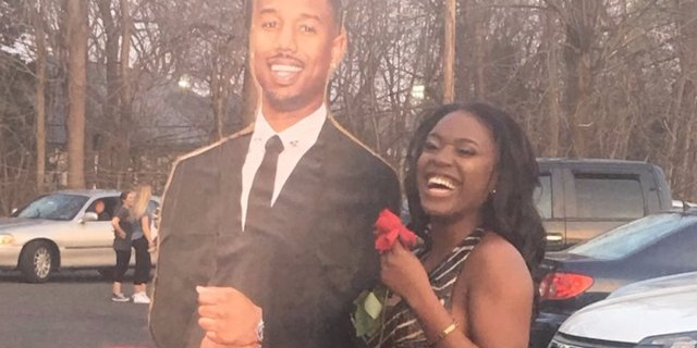 A teen brought a cutout of Michael B Jordan to prom as her date — and the pictures will give you life