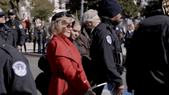 Jane Fonda accepts BAFTA award while being arrested during climate change protest
