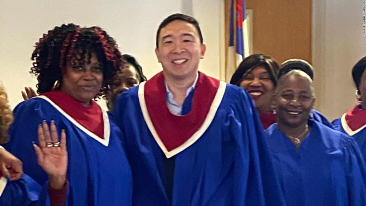 Andrew Yang sang with a black church choir. Not everyone said 'Amen'